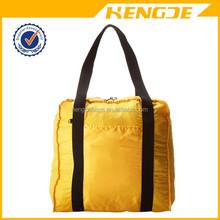 china wholesale yellow folding woman shopping bag