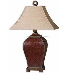 Crackled Red Leather Table Lamp with pagoda shade and circular finial