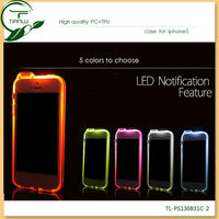 2013 Fashionable design hot PC material flasher LED light color changed back cover case for iphone 5