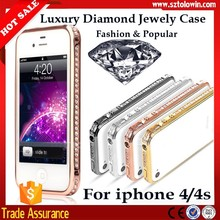 2015 Fashion Jewelry Diamond Bling Phone Case,Bling Bumper Case For iphone 4 4s Lady Case For iphone 4 4s Bumpers
