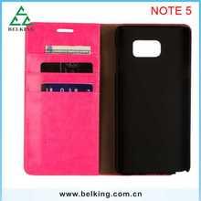 Book Wallet Genuine Case For Samsung Note 5 ID Holder+ Credit Cards+ Money Pocket Leather Case