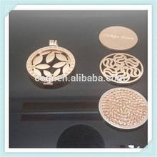 2015 newest design cheap locket rose gold coin holder pendant