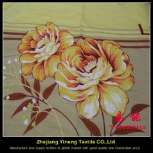 home textile micro fiber polyester brushed fabric printed fabric with big flowers/microfiber fabric