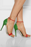 JUSITY exotic red and green ladies high heel shoes sandals wholesale from china