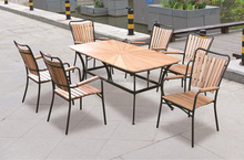 Modern 1+6 dining set with wooden top and iron frame