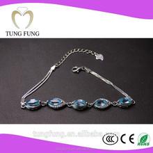 Factory direct sales 925 silver natural topaz gift classic genuine zircon wholesale bracelet