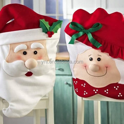 New Product Hot Sell Mr & Mrs Santa Claus Christmas Kitchen Chair Cover