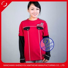 China supplier custom women t shirt with embroidery badge and epaulet