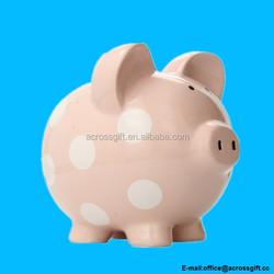 Child to Cherish Polka Dot Large Pink Piggy Bank
