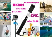 2015 selfie stick extendable hand held monopod RK901 cable take pole selfie stick without battery and with remote shutter