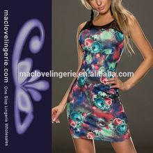 Ml17990 moda- vestido de uno- pieza- vestido- el último impreso mini vestido desigual