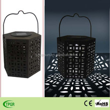 Hot new products metal hexagonal lanterns solar led light for home decor