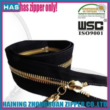 Fully polished gold metal zipper in YKK EXCELLA process H85 brass rose gold Auto-lock Closed-end