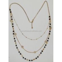 3 layers long beads chain necklace, wholesale layers beads chain necklace(RS-N155075)