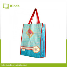 cute blue pp woven shopping bag gloss laminated bag tote bag