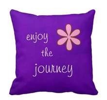 Printed Latin Letter Throw Pillow in Purple