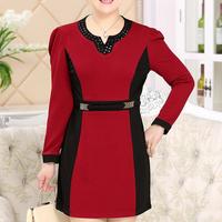 Winter fashion long sleeve women blouse splicing large size slim new design elegant office ladies dress