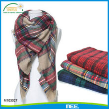crushed acrylic winter check tartan plaid scarf