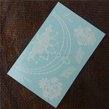 High Quality Fine Line 3D White Temporary Tattoo on Blue Paper