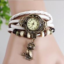 High Quality Genuine Braid Leather Women Vintage Bracelet Bangle Women Lady wrist watch owl adornment