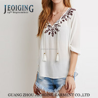 2015 china top ten selling products 100%rayon embroidery plus size lady blouse & top