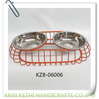 KZ8-06006 stainless steel dog bowl with metal stand