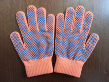 PVC dotted cotton knitted warm gloves