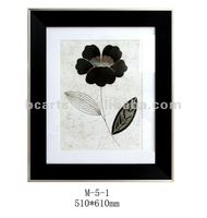 High quality black and white simple flower digital printing with plastic frame for wall decoration