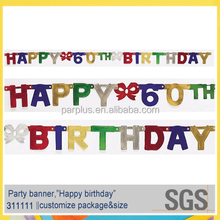Hanging decor Foil Happy 60th Birthday Banner