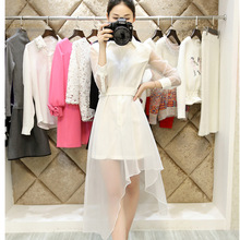 Manufacture custom latest frock designs for women hot sexy transparent club dress prom dresses short front long back