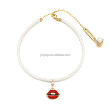 Hote Sale Modern Pearl Chains Lips Pendant Chocker Necklace