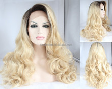 613 blonde ombre color body wave synthetic lace front wig