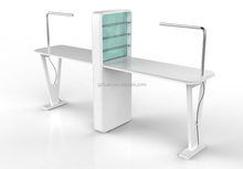 Professional Double Manicure Table with LED Lights