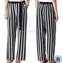 Stylish/fashionable women loose fit black and white striped pants and trousers for ladies and men