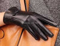 100% Подлинная овчины кожаные перчатки для женщин мягкая овчина перчатки теплые зимние перчатки высокого качества черный