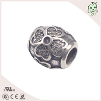 Popular Titanium Silver Plating Diy 925 Sterling Silver Flower Pattern fusiform Jewelry Findings