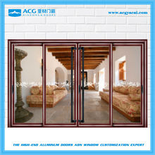 Aluminum wooden treatment interior doors wood frosted glass