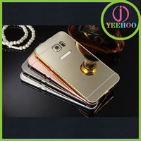 For Samsung S6 edge plus bumper, fashion metal mobile phone bumper with PC mirror cover