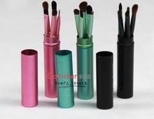 5pcs metallic cylinder make up brush simple beautiful durable facial brush women's private cosmetic brush set
