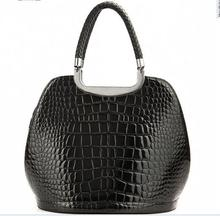 negro color croco tendencia patente top damas venta de cuero genuino bolso de mano