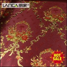 Lanca roll metallic country red floral nature wallpaper decor