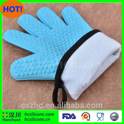 Heat Resistant Non-Slip Five Finger BBQ Glove Oven Mitts with cotton line & Pot Holders Red
