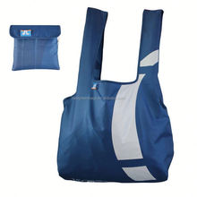 Waterproof 190T polyester foldable shopping bag handle with pouch for adult/younger