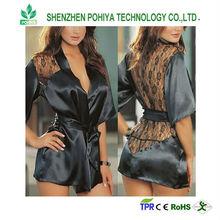 2014 new Sexy Lingerie Satin Lace Black Kimono Intimate Sleepwear Robe Night Gown
