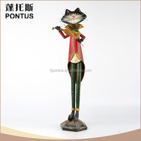 Funny design tall cat shaped wrought iron decoration animal garden ornaments