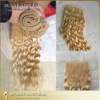 613 blonde malaysian curly hair closure with dark roots lace closure with hair extension