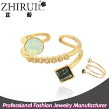 alibaba express latest design open diamond 18k gold opal stone ring
