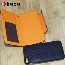 Flip genuine leather case for iphone 6 with slot card for sale supplier