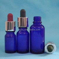 15ml 20ml 30ml smoking oil glass bottle , deep blue color glass container with aluminum dropper pipette