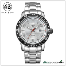 men quartz analog stainless steel waterproof movement watch with own logo